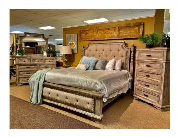 This Charleston bedroom collection is so much more beautiful in person. it is a 6 piece group. Comes with the bed, chest of drawers, dresser and mirror and two night stands. Mattresses not included.